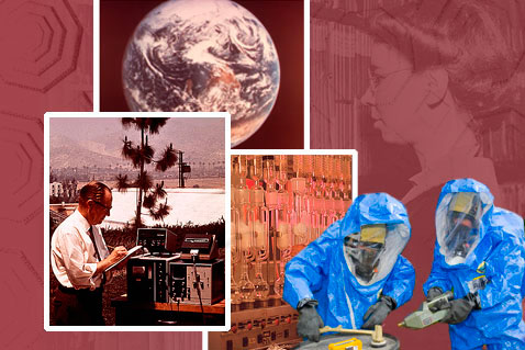 Earth as seen by astronauts from Apollo 17; woman checking humidity recorder, 1942; scientist using optical particle counter, 1972;  chemistry lab;  two National Decontamination Team members, 2008