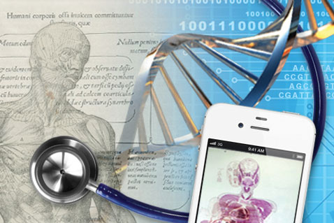 Stethoscope, model of DNA, Da Vinci drawing of head, neck, and shoulders, smart phone application