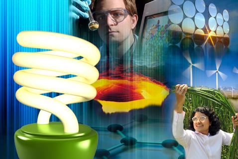 Polymer samples, super computer, solar panels, wind mills, woman handling biofuel crops, molecular structure, compact fluorescent light bulb, plasma